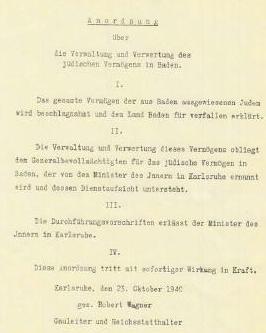 Anordnung durch Robert Wagner vom 23.10.1940