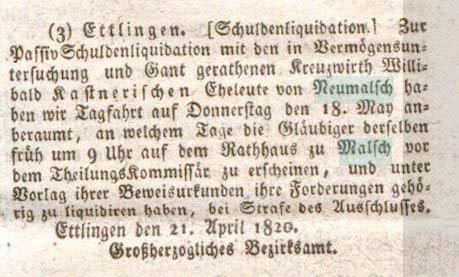 1820-05-11 Kreuz Neumalsch Kastner Schuldenliquidation - karlsruher intelligenz-und Wochenblatt