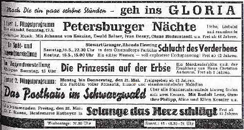 Werbung im Gemeindeanzeiger, 1959