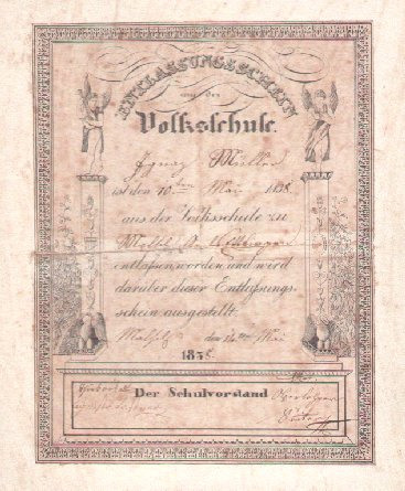 Schulzeugnis von 1938 der Joh.-Peter-Hebel-Schule