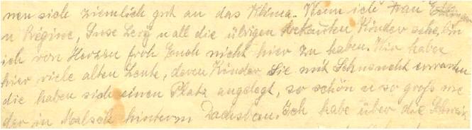 Teil eines Briefes von Clara Mayer an ihre Kinder Ludwig und Agathe