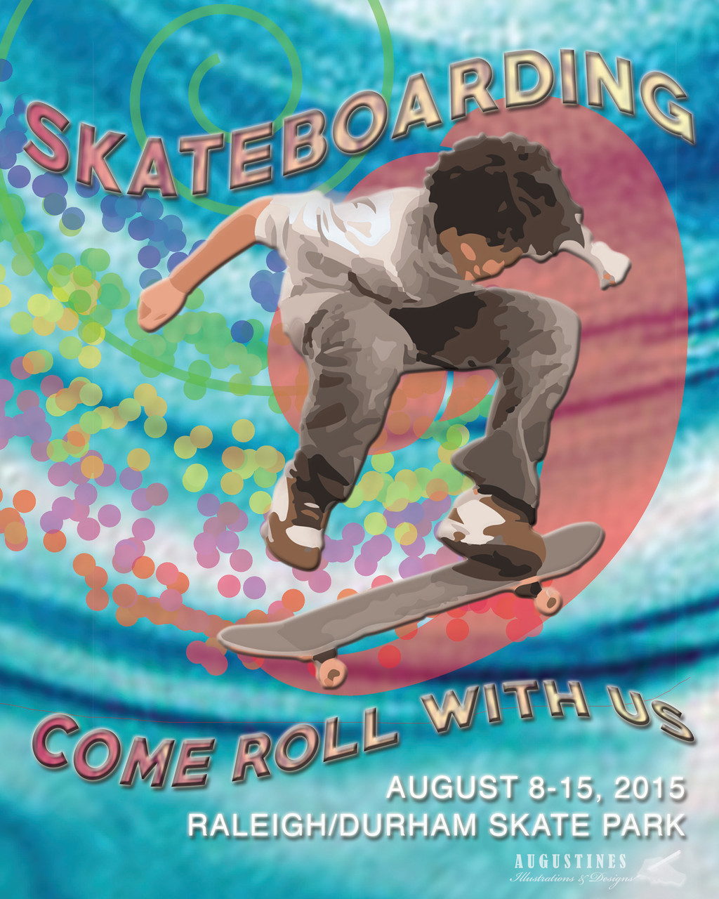 A fictional poster for skate boarding that is entirely accomplished as a digital illustration that was done for a school assignment. 8/15