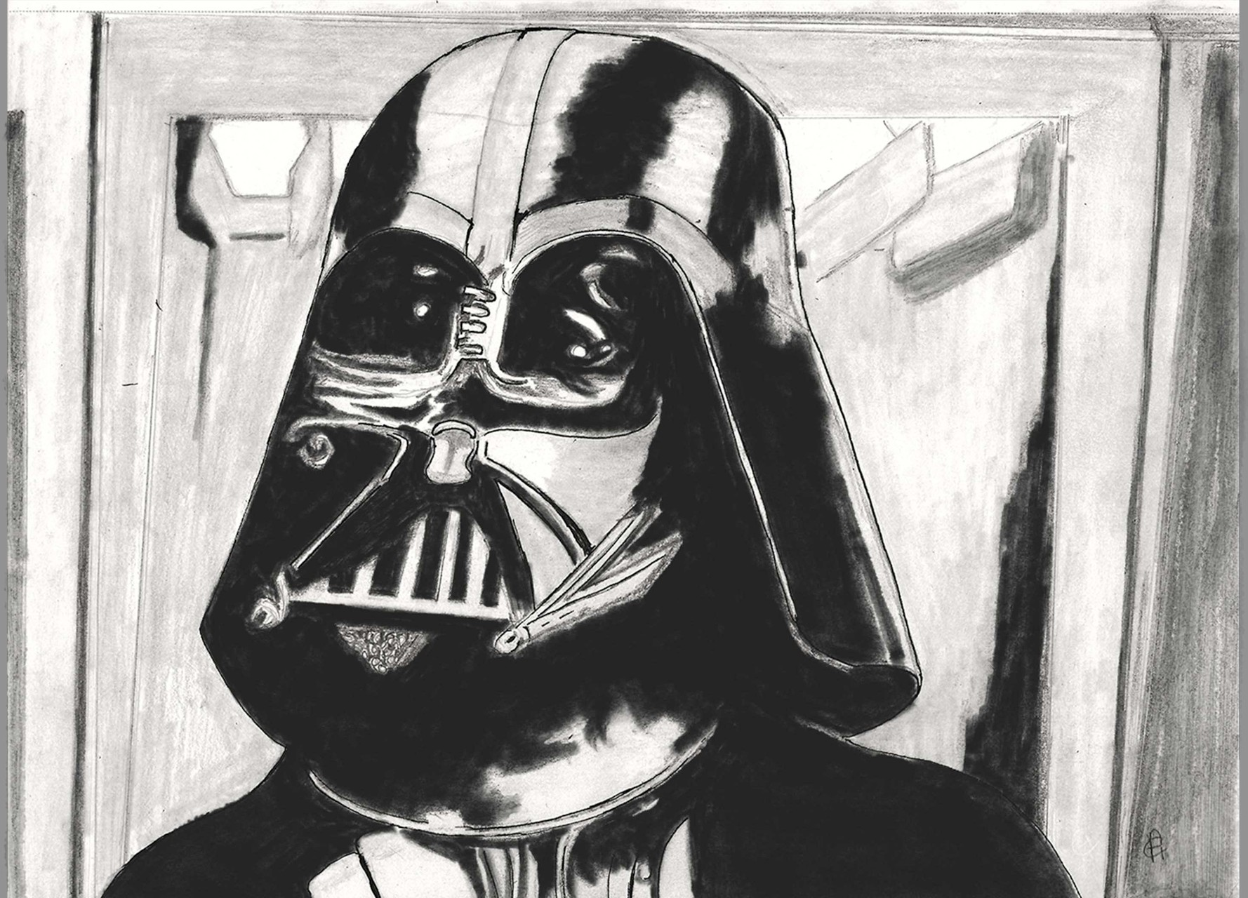 2 of 3 Star Wars traditional illustration of Darth Vader in a close up shot. This illustration was drawn in graphite pencils, ink, mechanical pencil, and later digitally enhanced in Photoshop. Created 1/15.