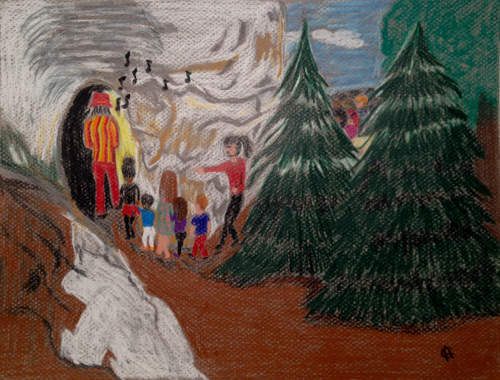 This is an illustration of the Pied Piper as depicted in the story leading the children into a cave to never be seen again. Illustrated with colored pencils on Canson Me-Teintes paper. 12/14