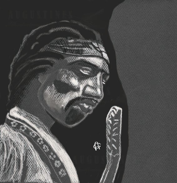 This is an Illustration of Jimi Hendrix looking down at his guitar. Illustrated with black and white pencil on Canson Mi-Teintes paper. 11/14 In 2015 color was added in Photoshop.