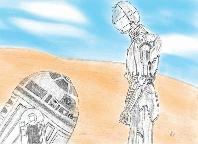 1 of 3 Star Wars traditional Illustration of R2 D2 and C3PO while watching the movie. This illustration was drawn with a combination of mechanical pencils, graphite pencils, ink, and later digitally enhanced in Photoshop. Created 1/15.