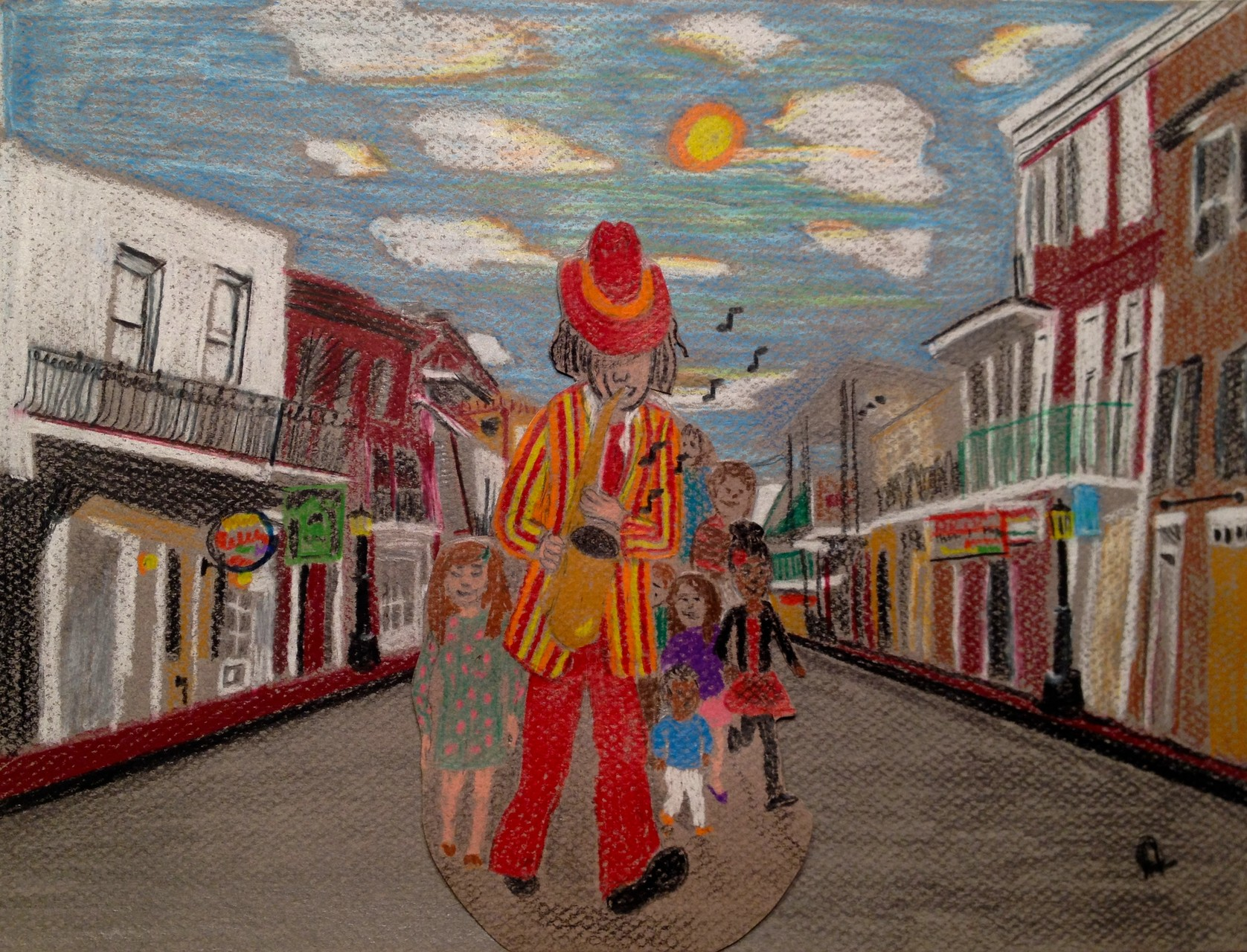 Another Illustration of the Pied Piper leading the children out of the town. Illustrated with colored pencils on Canson Mi-Teintes paper. 12/14