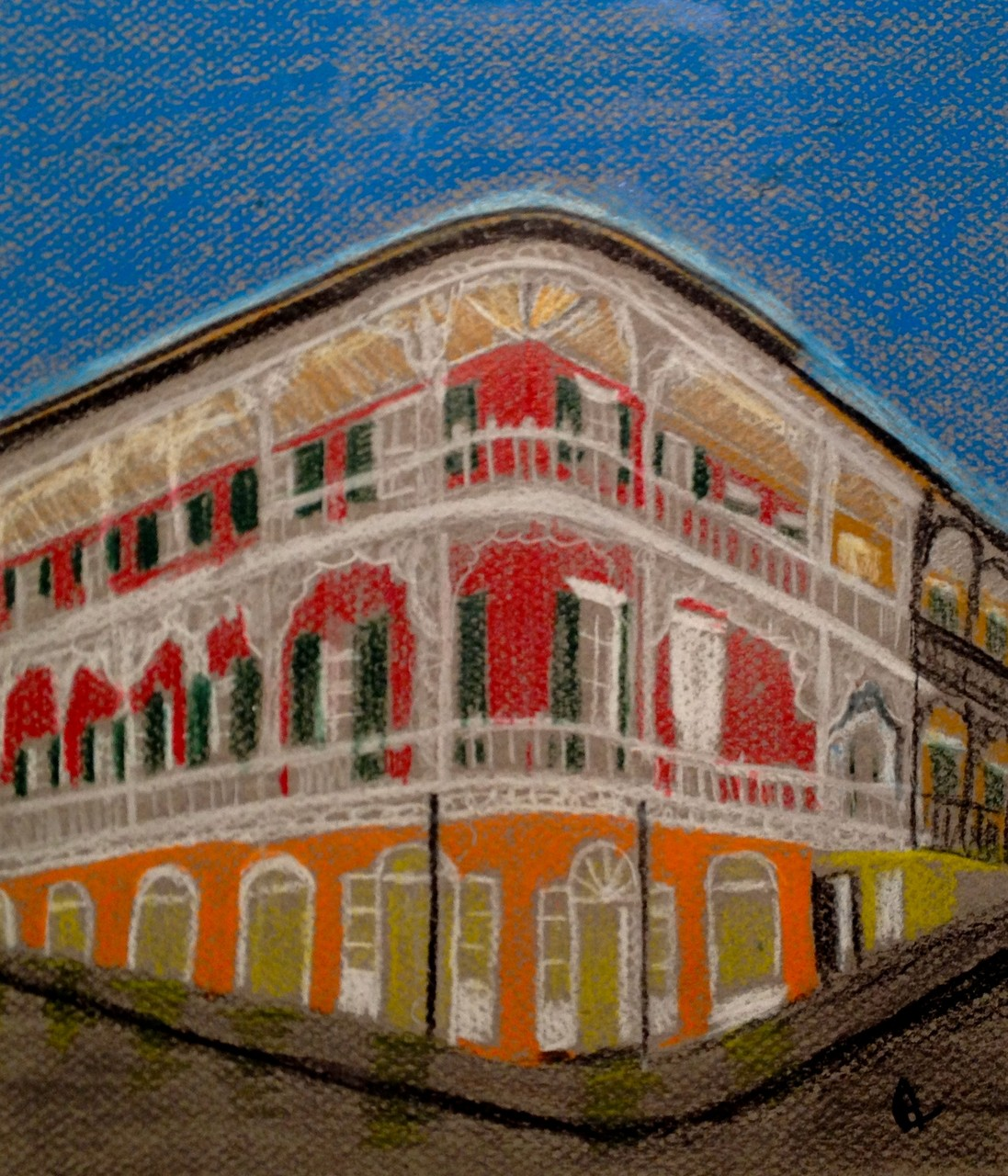 Lastly, this Illustration was a bonus piece of the French Quarter which also was done in colored pencils on Canson Mi-Teintes paper. 12/14