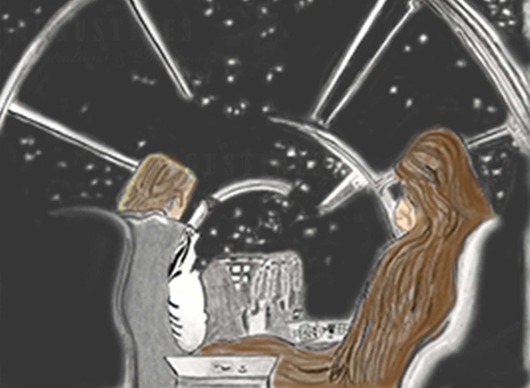 3 of 3 Star Wars, where this  illustration is a scene from in the cockpit of Han Solo's Millennium Falcon spaceship with Han Solo and Chewbacca. This was done in graphite pencils and ink, and later enhanced digitally in Photoshop. Created 1/15.