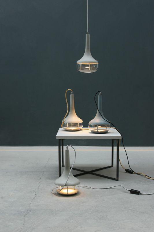 Steh- und Hängeleuchte aus Beton, LED, €390