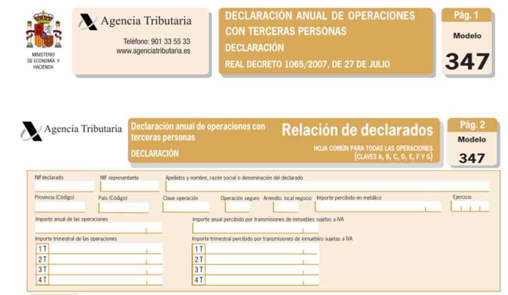 PLAZOS DE PRESENTACIÓN MODELOS 184 Y 347 EJERCICIO 2017.