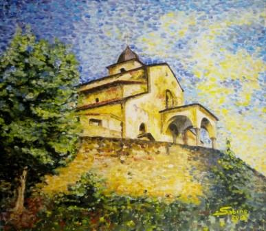 """""""Chiesa di Oleggio Castello"""" olio cart. telato"""
