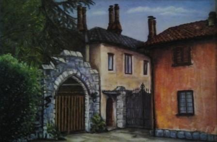 """Oleggio Castello: l'entrata al castello"" olio su tela"