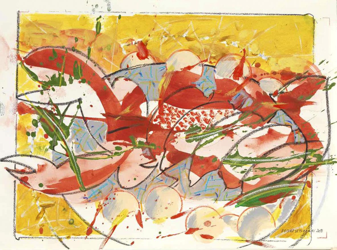 Les pinces - Monseigneur - Acryl sur Arche - 49x69 - 2015