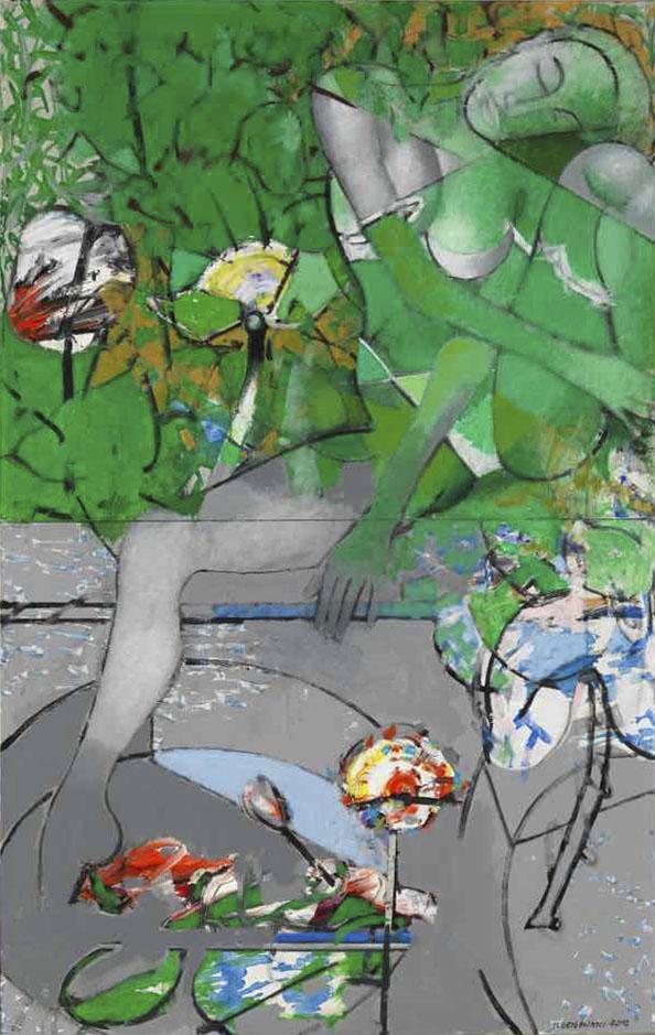 Clame et silencieuse, elle habite une eau tranquille et rêve… d'ailleurs - Acryl sur toile - 147x92 - 2016