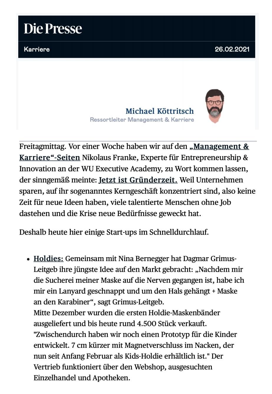 Die Presse | Newsletter Management&Karriere | 26th of Feb. 2021