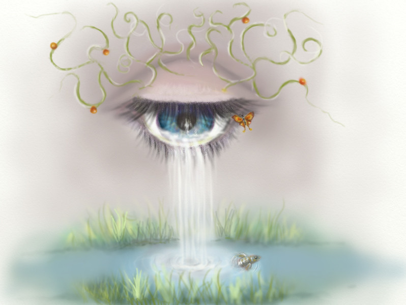 Les petits chagrins font de grandes rivières. (Aérographe numerique ps4)