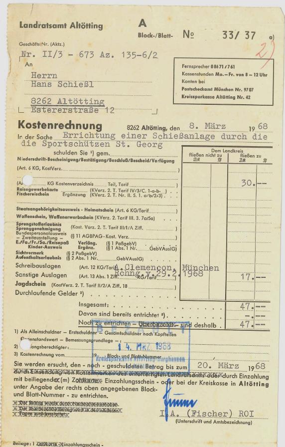 Dokument aus der Gründungszeit 1968