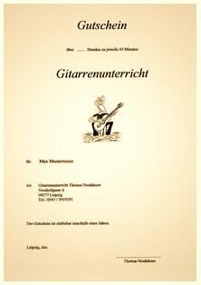 Gutschein für Gitarrenunterricht in Leipzig