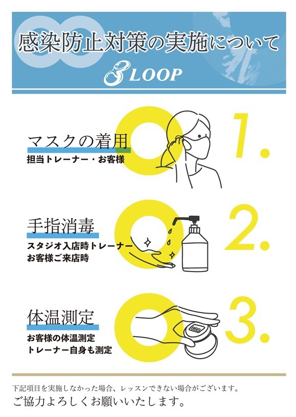 パーソナルトレーニング大阪、新型コロナウイルス感染症対策ガイドライン、マスク着用、手指消毒、体温測定にご協力ください