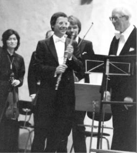 Dominikanerbau Bamberg, 12. November 1980:  Wolfgang Amadeus Mozart, Flötenkonzert G-Dur, KV 313, mit den Bamberger Symphonikern unter der Leitung von Eugen Jochum (rechts)