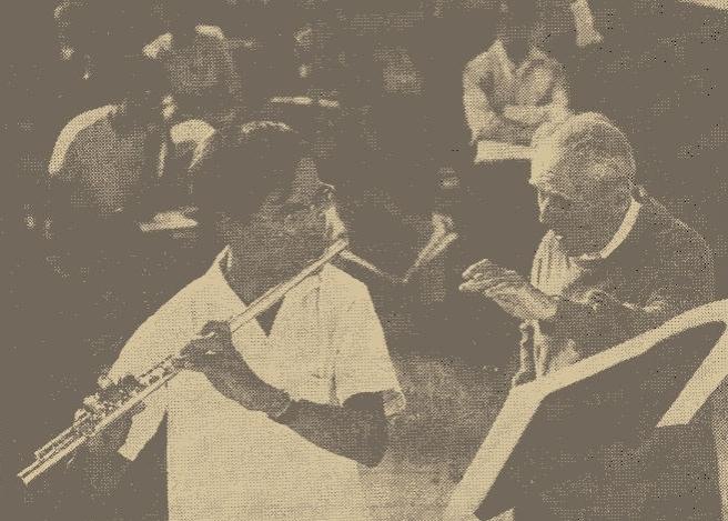 Künstlerhaus Boswil/Schweiz, 18. September 1964:  Meisterkurs mit Maître Marcel Moyse (rechts): Philippe Gaubert, Nocturne et Allegro scherzando