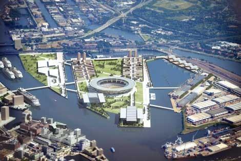 So soll das Olympiastadion auf dem Kleinen Grasbrook für die Sommerspiele 2024 in Hamburg aussehen (c) Christ & Gärtner