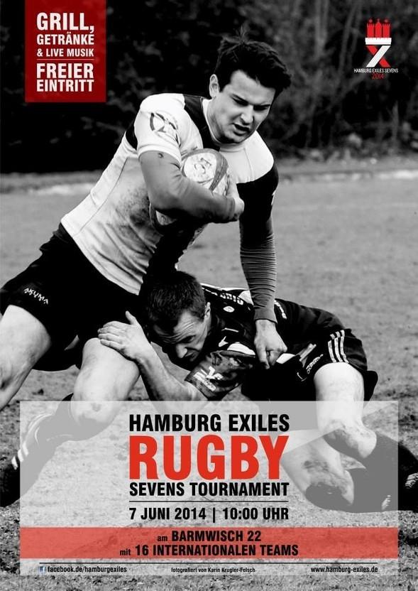 Das offizielle Turnierplakat der Hamburg Exiles Sevens 2014, die dieses Jahr erstmalig am Barmwisch ausgetragen werden