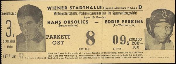 Schicksalskampf am 3.9.1970: Hans Orsolics gegen Eddie Perkins