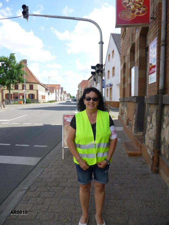 Sicherung der Fußgängerampel in Bobenheim