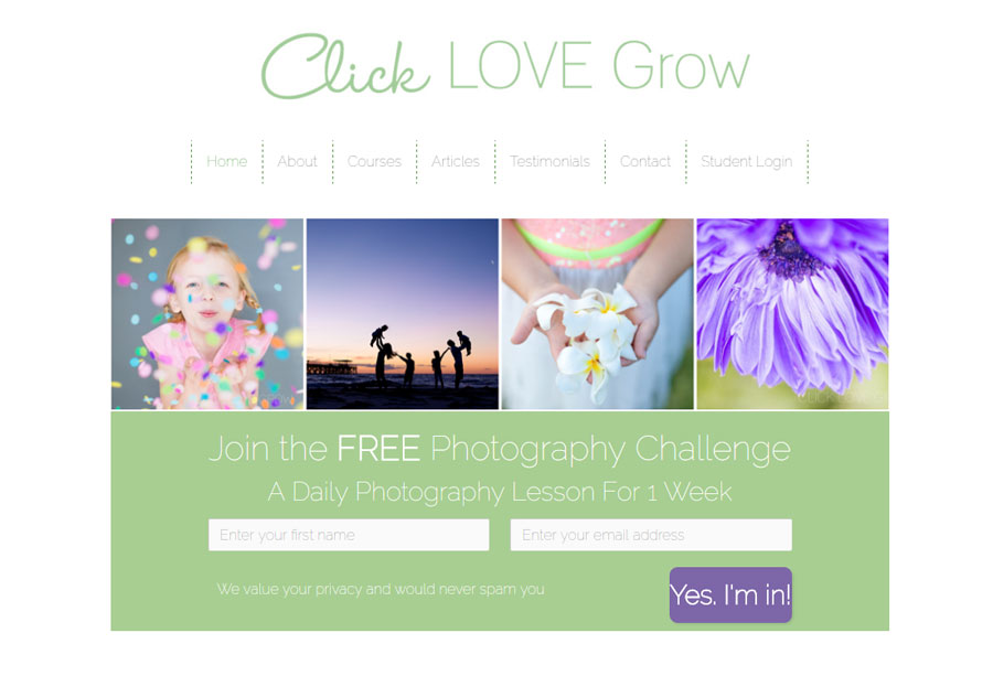 Screen shot of Click Love Grow home page