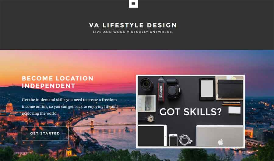 Screen shot of VA Lifestyle Design home page.