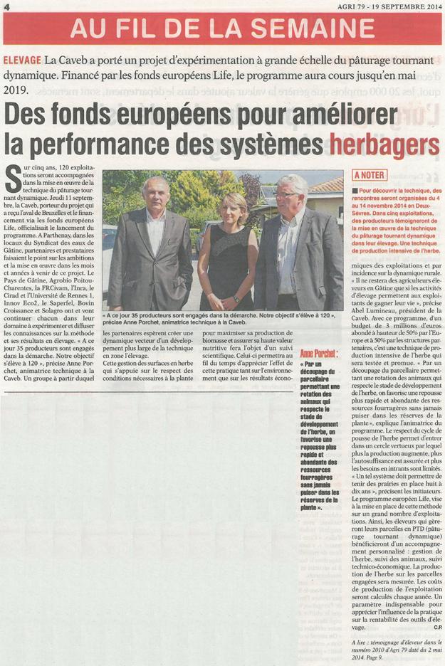 Article de presse Life PTD - AGRI 79 du 19 septembre 2014