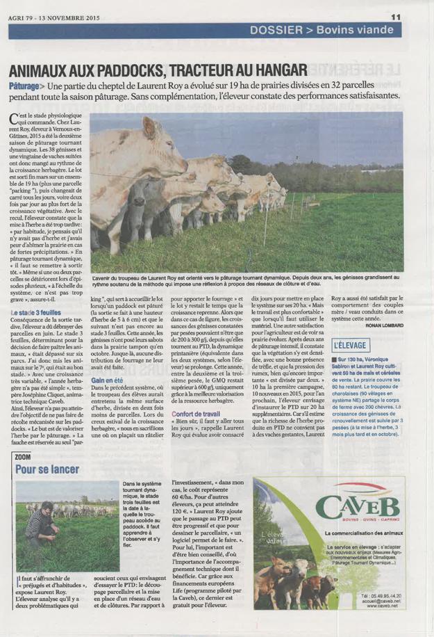 Article de presse Life PTD - AGRI 79 du 13 novembre 2015