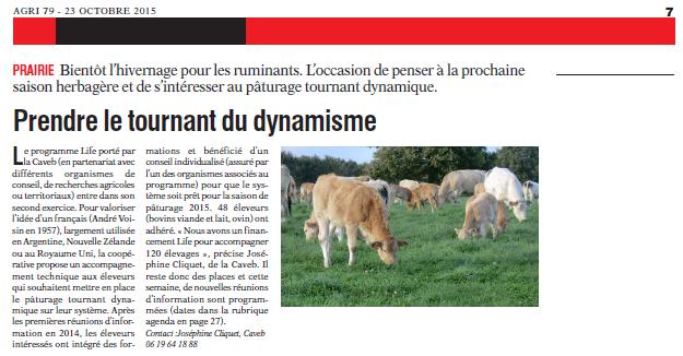 Article de presse Life PTD - AGRI 79 du 23 octobre 2015