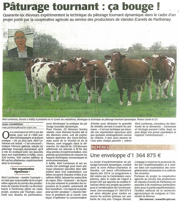 Article de presse Life PTD - Courrier de l'Ouest du 22 octobre 2015