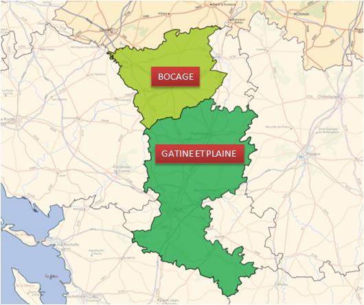 Département des Deux-Sèvres : périmètre de la Zone Agricole de BOCAGE et périmètre de la Zone Agricole de GATINE ET PLAINE