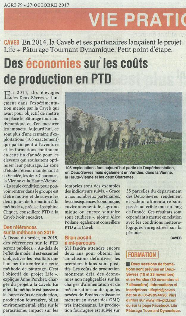 Article de presse Life PTD - AGRI 79 du 27 octobre 2017