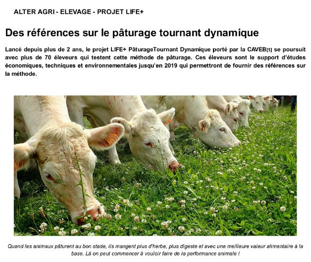 Article de presse Life PTD - ALTER AGRI : revue de l'ITAB de janvier 2017