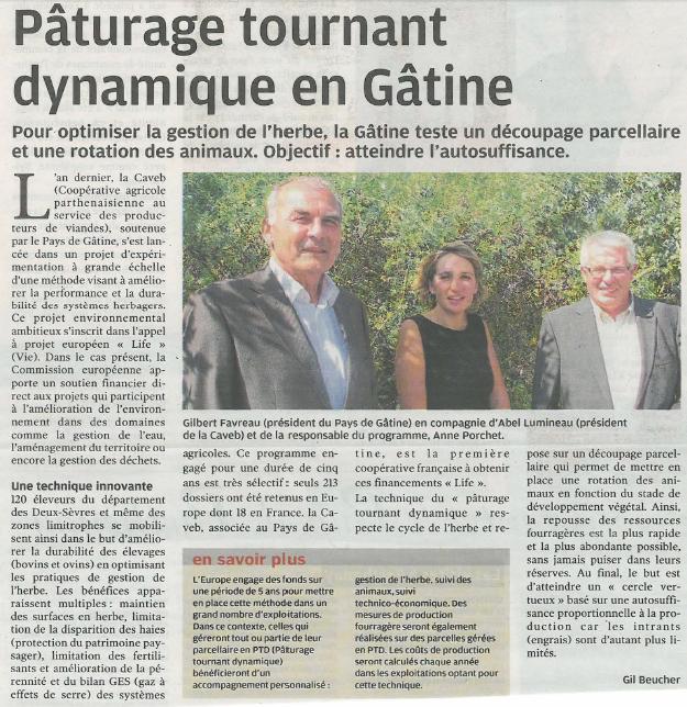 Article de presse Life PTD - La Nouvelle République du 16 septembre 2014