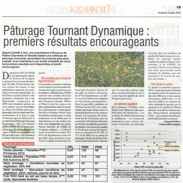 Article de presse Life PTD - Vienne Rurale du 04 mars 2016