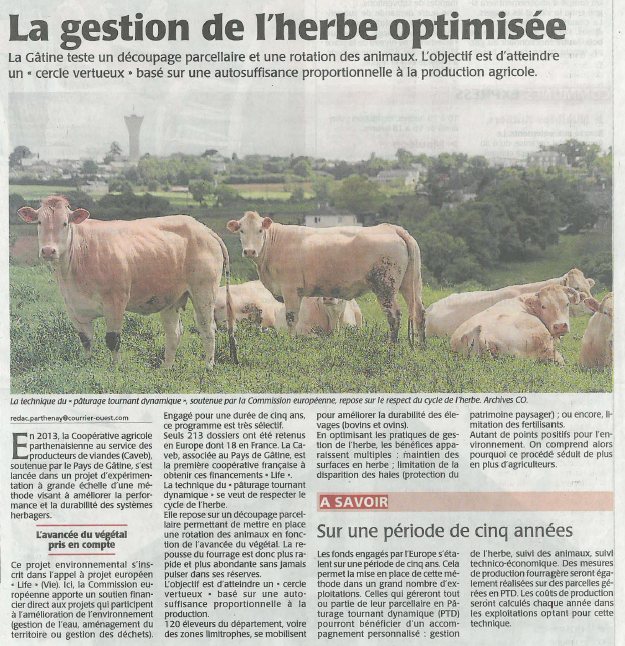 Article de presse Life PTD - Courrier de l'Ouest du 26 septembre 2014