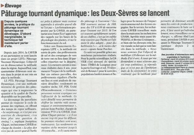 Article de presse Life PTD - Vienne Rurale du 7 août 2015