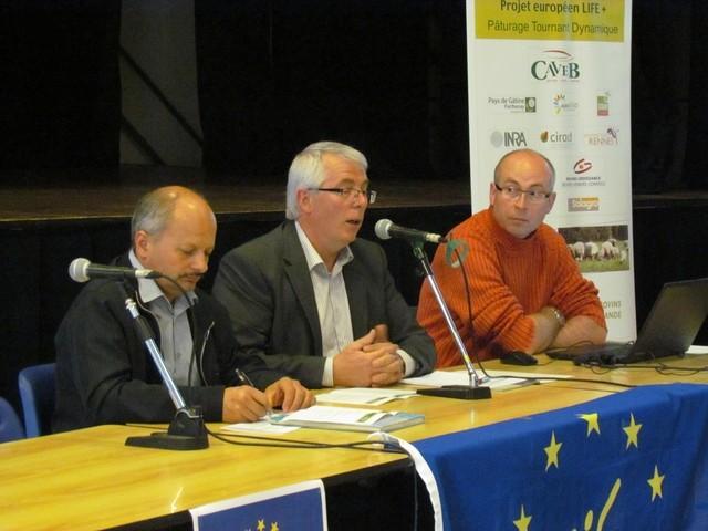 Philippe Albert, Administrateur élu du Pays de Gâtine, Abel Lumineau, Président de la CAVEB et Jérôme Thirez, Webmaster et géomaticien du projet Life - PTD