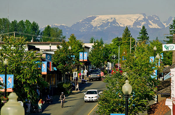 The Comox Valley Glacier overlooks the main street of downtown Courtenay.