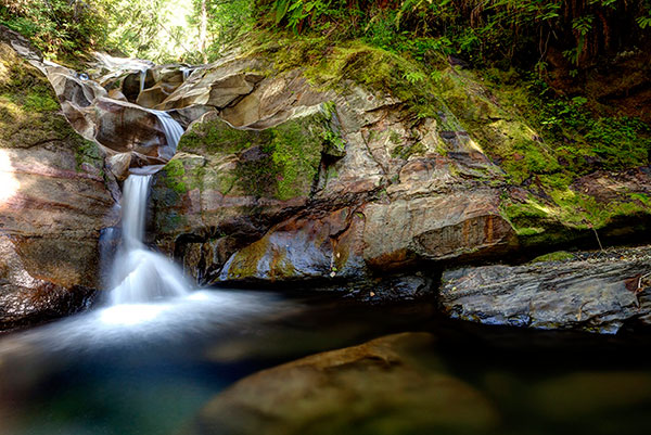 Water cascades down moss covered rocks on Perseverance Creek in Cumberland.