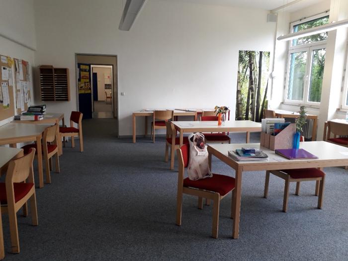 Das gibt's doch nicht: Einfach ins frisch umgeräumte Lehrerzimmer geschlichen. Viel Platz, genügend Abstand – die Lehrer halten sich ebenfalls vorbildlich an die Regeln. Da ist sogar noch genug Platz für einen moppeligen Mops