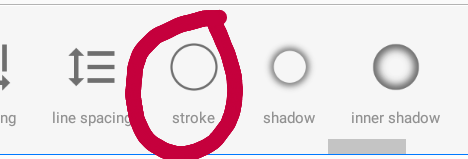 """4.- Cuándo den click en esa opción deslizaran hacía la derecha y cuándo les aparezca la opción de """"stroke"""" darán click en ella."""