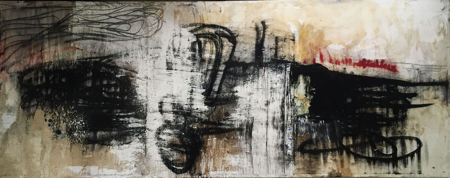 Tomorrow Always Happens Yesterday | (94.5 x 23 in) | mixed media on canvas | SOLD