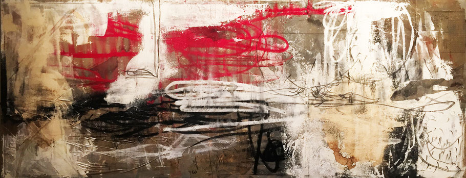 Growing | (94.5 x 23 in) | mixed media on canvas | SOLD